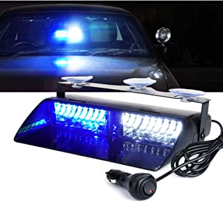 Xprite 16 LED High Intensity LED Law Enforcement Emergency Hazard Warning Strobe Lights for Interior Roof Dash Windshield w/Suction Cups - White & Blue