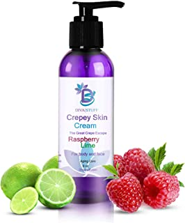 Diva Stuff Crepey Skin Cream Raspberry Lime | Anti-Aging Deep Moisturizer | Reduces Wrinkles & Fine lines | Increases Elasticity, Firmness & Collagen Production | Face & Body Lotion (8 oz)