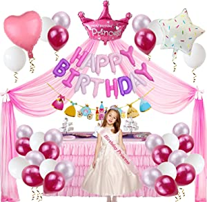 5 Years Old Girl Princess Party Supplies Birthday Decorations for Girls with 33 Balloons, Princess Tulle Backdrop with Bow knot, Happy Birthday Banner, Princess Castle Banner, Birthday Princess Sash, Ribbon, Crown Foil Balloon for Pink and Pink Party Supplies Girls Princess Party Decorations (pink theme)