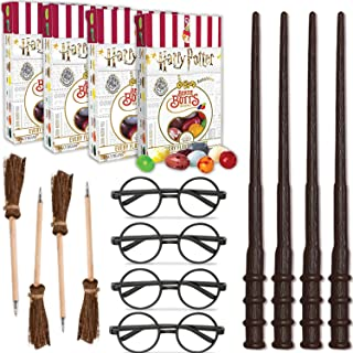 Wizard Party Favors - 4 Per Item - 4 Boxes Harry Potter Bertie Botts Every Flavour Beans, 4 Wands, 4 Wizard Glasses Round Glasses, 4 Broom Pens - Great for Birthday and Theme Party Prizes & Handouts