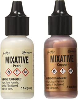 Ranger TIM21254 Adirondack Alcohol Ink Metallic Mixatives, 1/2-Ounce, 2-Pack, Pearl and Copper