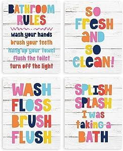 Colorful Kids Bathroom DecorWall Art Prints Set Of Four Photos 8x10 Farmhouse Bathroom Rules Sign Toilet Restroom Nursery Decor for Baby Girls Boys