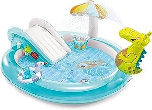 N\C ZSCC Piscina Inflable para niños, Piscina sobre el Suelo con un tobogán móvil, fácil de Montar y Plegable, Centro de natación, Piscina Familiar, Azul, 78.7x67x33.5in