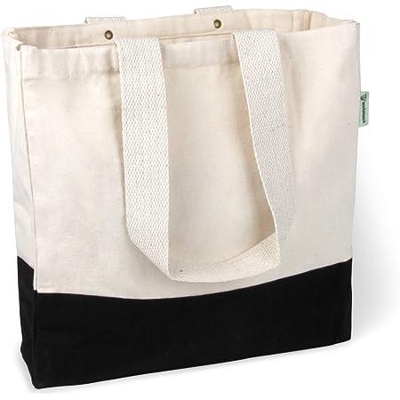 BagCouture Sac de transport élégant et spacieux - Avec poche intérieure, fermeture éclair et grand fond - Sac en coton - Sac à main - Sac à provisions - Matériau en toile.