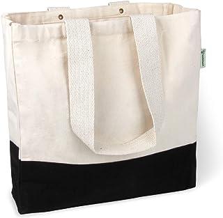 BagCouture BagCouture stylische geräumige Tragetasche | mit Innentasche, Reißverschluss, und großem Boden | Baumwolltasche | Handtasche | Einkaufstasche | Segeltuch Material