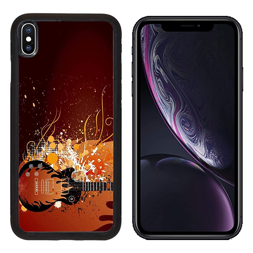 Liili Premium Apple iPhone XR Aluminum Backplate Bumper Snap Case Guitar with Flame ANG Grunge Ink Musical Theme Illustration Photo 8713158