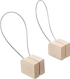 MagnaClips Curtain Tiebacks or Holdbacks, Curtain Clips - Magnetic Wood Buckle, Set of 2, Quadra (White)