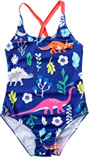 Girls Cartoon Dinosaur Print One Piece Swimsuit Swimming Bathing Suit Blue