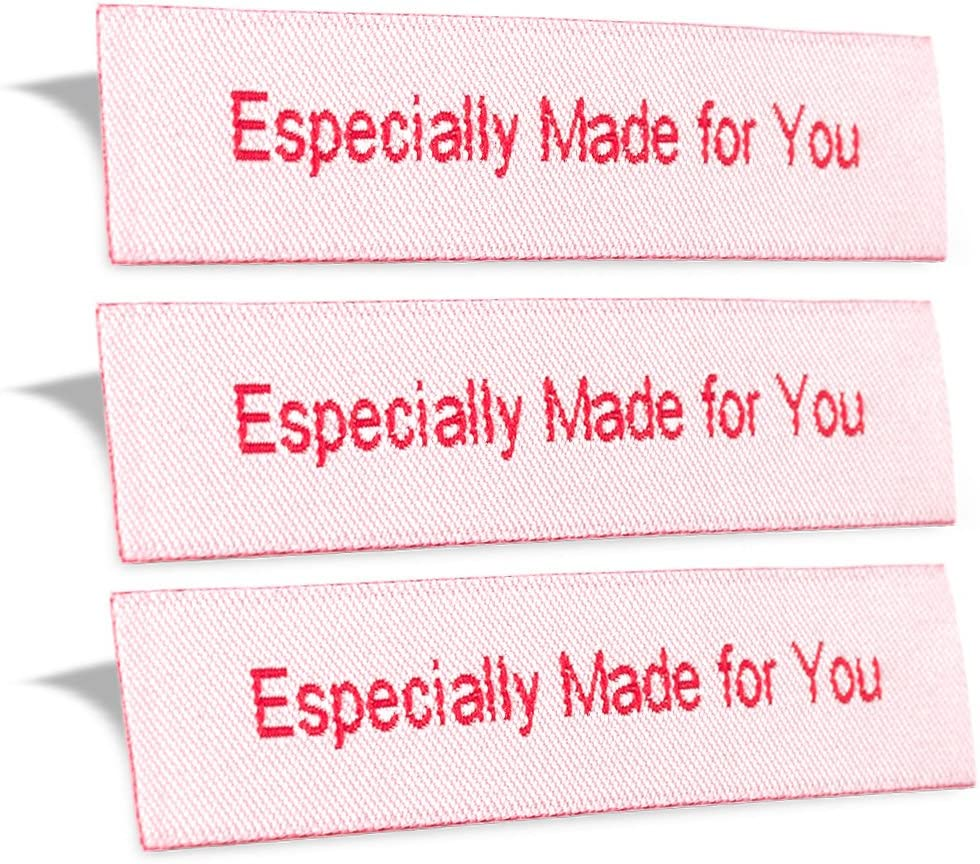 Wunderlabel Especially Made for You Crafting Craft Art Fashion Woven Ribbon Ribbons Tag for Clothing Sewing Sew Clothes Garment Fabric Material Embroidered Label Labels Tags, Red on White, 25 Labels