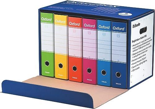 Esselte Oxford Box 390785110 6 Raccoglitori Oxford con Scatola, Formato Protocollo, Cartone, Dorso 8 cm per Raccoglit...