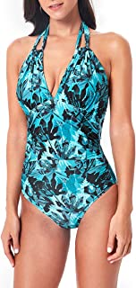 Es Unico Tummy Control Swimwear. Women's Monokini Bathing Suit One Piece Halter Backless Swimsuit Deep V Plunge