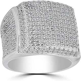 Solid 925 Sterling Silver Men's Ring - Iced Out Ring - ICY Hip Hop Square Micropave Men's Hip Hop Ring