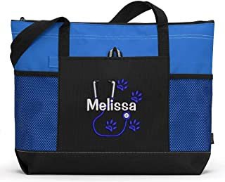Stethoscope Paw Prints Personalized Vet Tech, Zippered Tote Bag