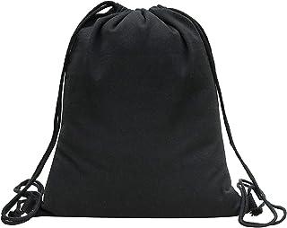 REYOK Turnbeutel Hipster Segeltuch Sporttaschen Rucksack Schultaschen Black - Stoff-Beutel mit Kordelzug
