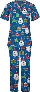 Traje para Mujer, Navidad, Manga Corta, Cuello en V, Tops + Pantalones, Conjunto de Uniforme de Trabajo de enfermería, Tra...