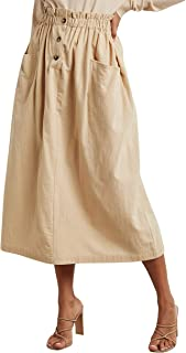 A-Line Midi Skirt with Pockets and Button Detail For Women Closet by Styli