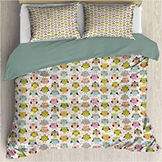 House Duvet Cover Set - Artistic Floral Bird Figures Daisies Oranges Sunglasses Stripes Swirls Hearts Colorful - Decorative 3 Piece Bedding Set with 2 Pillow Shams - Cal King - Multicolor