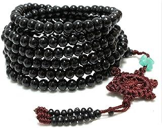SODIAL(R) 216 pz Braccialetto di Perline di Legno di Sandalo Tibetano Collana Buddista Bracciale con Perline Nere