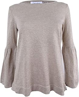Calvin Klein Womens Plus Metallic Bell Sleeves Pullover Sweater