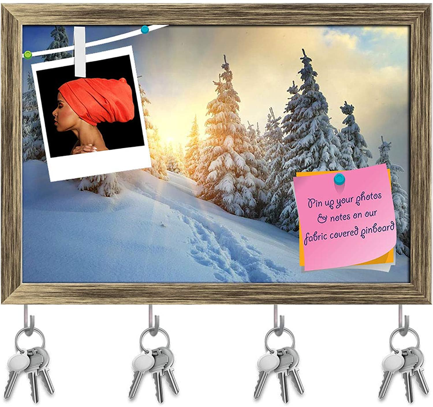 Artzfolio Winter Landscape Mountains Carpathians, Ukraine Key Holder Hooks   Notice Pin Board   Antique golden Frame 17.6 X 12Inch