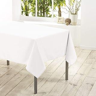 douceur d'intérieur 1720194 Nappe Polyester Uni Essentiel Blanc 140 x 200 cm