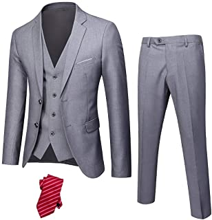 YND Men's Slim Fit 2 Button 3 Piece Suit Set, Solid Blazer Jacket Vest Pants & Tie