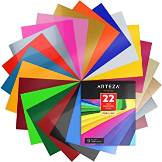 ARTEZA HTV Vinyl Bundle, 22 Multi-Color Iron On Heat Transfer Sheets, 10x12 Inches, Flexible & Easy to Weed, Use with Any Craft Cutting Machine, Boxed