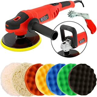 "TCP Global Powerful 7"" Variable Speed Polisher with Digital RPM Display with 6-Waffle Foam Polishing Pads"