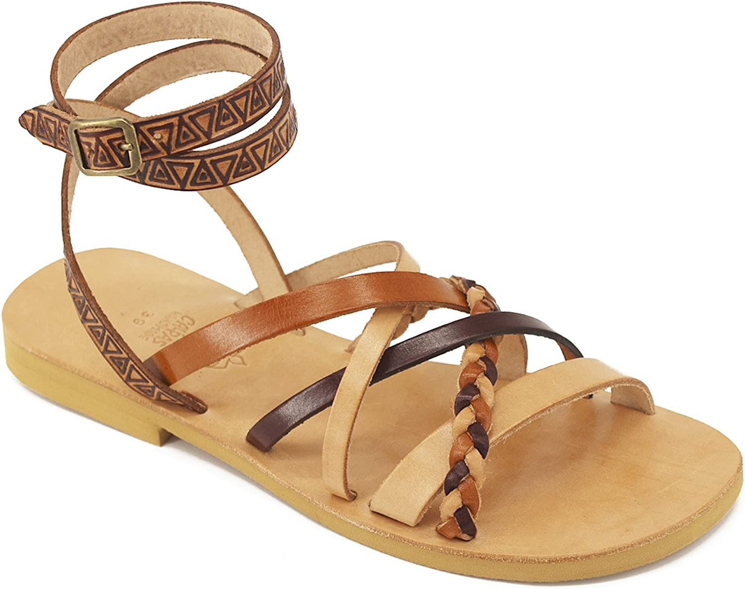 Gladiator Sandals Imprinted Leather Multi color Strappy Sandals Braided, Ankle Strap - Trinity