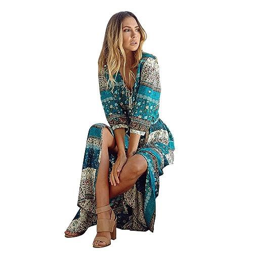 85094b462481 HOMEBABY Boemia Abiti Lunghi Donna Eleganti - Estivi Vestiti Casual Vintage  Maxi Abito Abiti Donna Formale