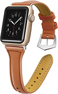 oceBeec Compatible for Apple Watch Band 38mm 40mm 42mm 44mm, iWatch Band Slim Genuine Leather Wristband Replacement Strap for iWatch Bands Series 4, Series 3, Series 2, Series 1
