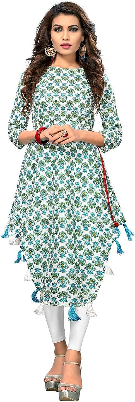 Vbuyz Indian Kurta Kurti cheap for Women Blue Asymmetric Tun Sky Be super welcome White