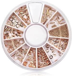 Niome Metal Nail Studs Rivet 3D Nail Decorations DIY Mixed Shaped Nail Art Decals Glitter Shining Elegant Rose Gold