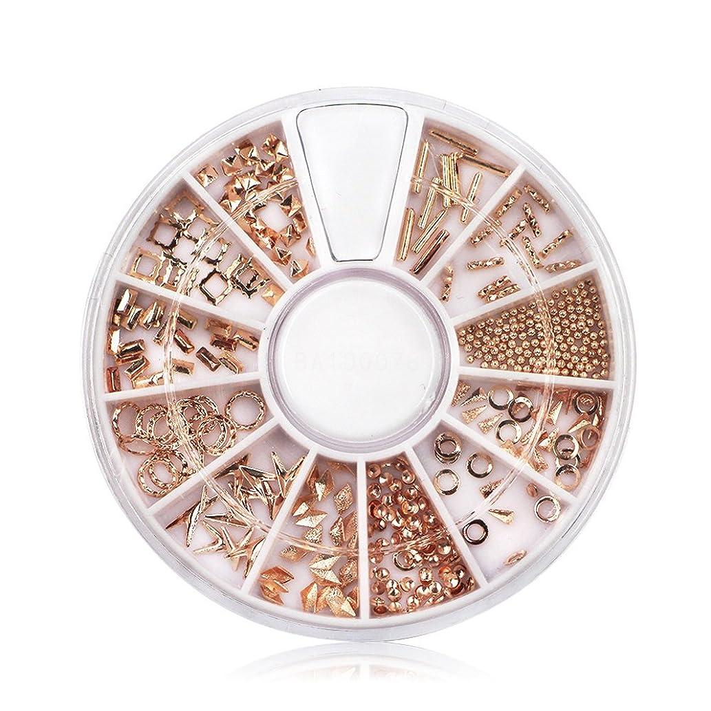 Indexu Rose Gold Rivet 3D Nail Decoration DIY Mixed Shaped Nail Art Decals Tips (Rose Gold)