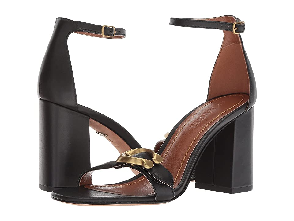COACH Maya 85mm Sandal with Signature Buckle (Black Leather) High Heels
