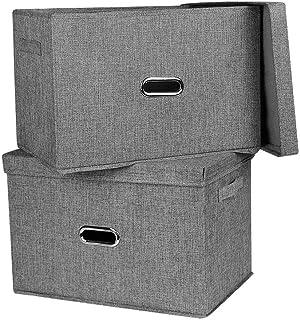 収納ボックス インナーボックス フタ付き 収納ケース 小物収納 インナーケース 取っ手付き (グレー, L)