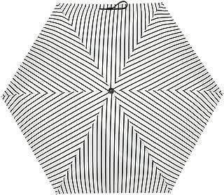 Regenschirm Mini leicht, Casloyal Taschenschirm Regenschirm faltender Visier-Sonnenschutz-Regenschirm Im Freien UV-faltender Regenschirm, klein, leicht & kompakt, 210g (Weiß Streifen)