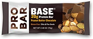 PROBAR - Base Protein Bar, Peanut Butter Chocolate, Non-GMO, Gluten-Free, Certified Organic, Healthy, Plant-Based Whole Food Ingredients (12 Count) Packaging May Vary
