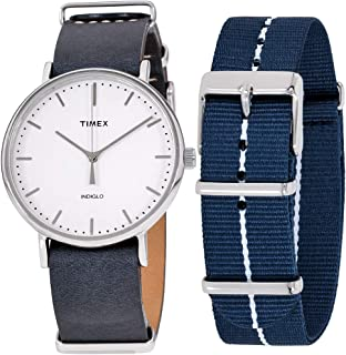 Fairfield White Dial Leather Strap Unisex Watch