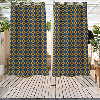 DONEECKL Vintage Outdoor Sky Old Fashioned Classical Pattern with Small Squares Chain Mesh Net Simple Tile Grommet Curtains for Bedroom W63 x L72 inch Orange Dark Blue