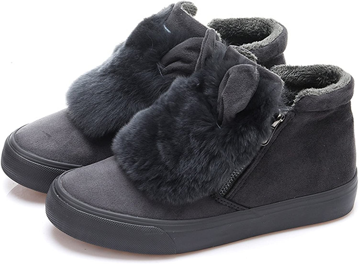 Jeff Tribble Fashion Natural Rabbit Hair Ears Women Ankle Boots Winter Keep Warm Fur shoes