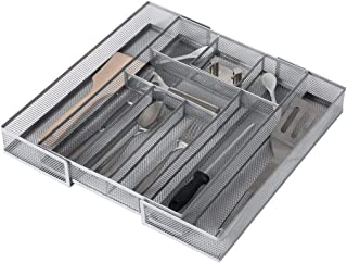 Expandable Kitchen Drawer Cutlery Tray Mesh Silverware Organizer, Expande 8 to 10 Compartments