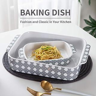 Baking Dishes,SIDUCAL 2 PCS Ceramic Bakeware Set,Rectangular Serving Baking Pan Casserole Dish for Cooking,Grey