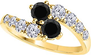 Forever US Two Stone Ring 14k Yellow Gold Plated Alloy 1.00 CT Round Cut Multi-Color CZ Wedding Engagement Rings Sizes 4-11