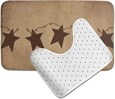 Vbcdgfg Bathroom Rugs Sets 2 Piece Rusty Stars Vintage Primitive Country Rustic Soft Anti-Slip Bath Rug Mats Set U-Shaped Toi