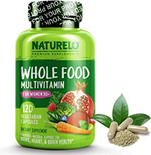 NATURELO Whole Food Multivitamin for Women 50+ (Iron Free) Natural Vitamins, Minerals, Raw Organic Extracts - Best for Post Menopausal Women Over 50 - No GMO - 120 Vegan Capsules