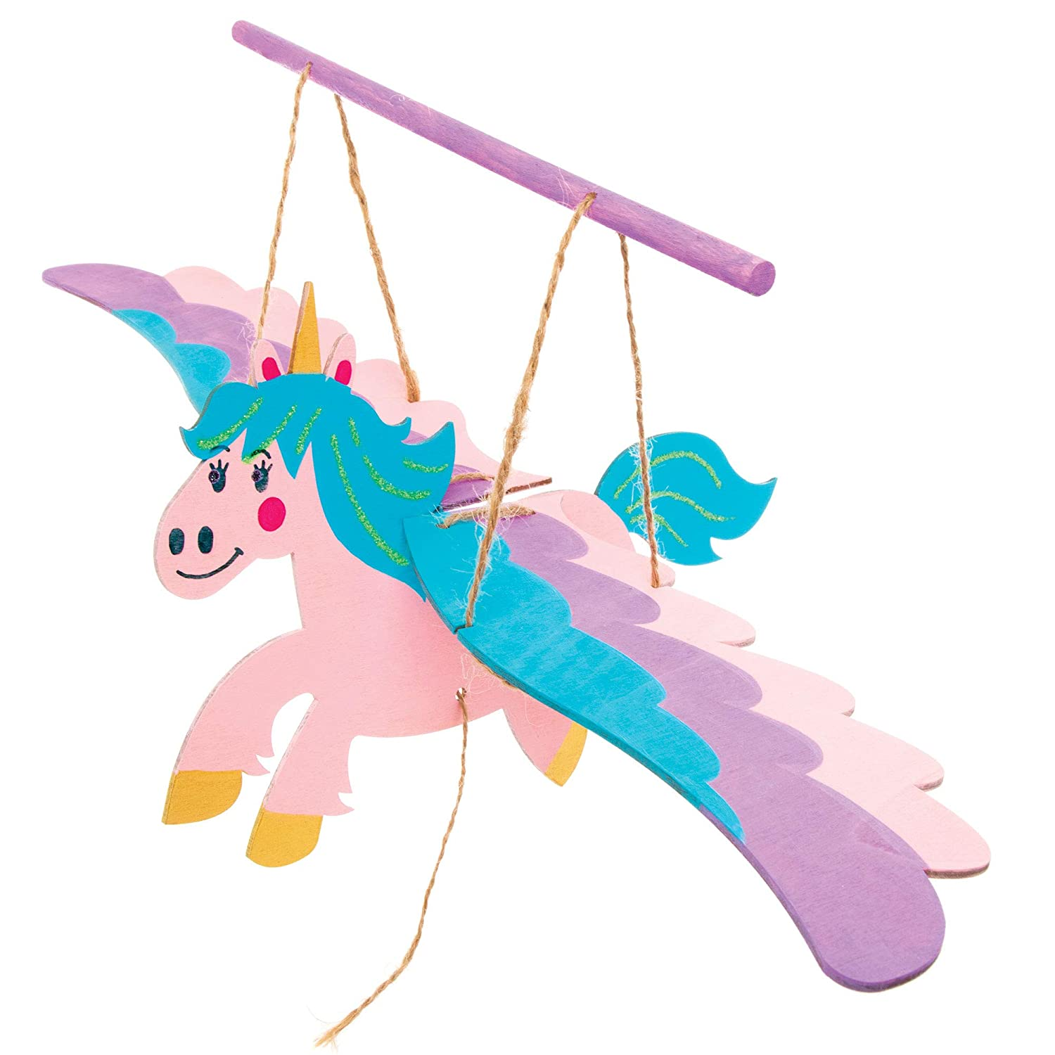 Pack of 3 Moving Unicorn Puppet for Children to Build and Design Baker Ross AT384 Unicorn Wooden Puppet Kits
