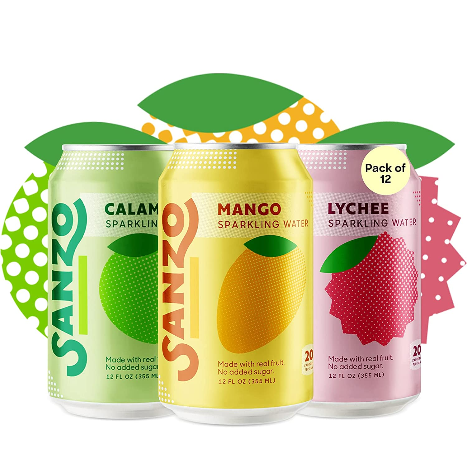 Sanzo Flavored Sparkling Water 2021 autumn and winter new Variety - New Free Shipping Pack Calamans 12-Pack