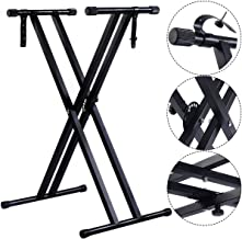 Costzon Heavy-Duty Metal Music Keyboard Stand, X Stand Standard Rack, Adjustable Piano Keyboard Stand with Locking Straps, Electronic Piano Dual Tube
