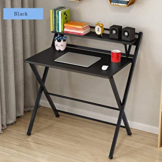 TGhome Folding Desk for Small Space, 2 Tiers Computer Desk with Shelf Home Office Small Desk with Metal Legs, No Assembly ...